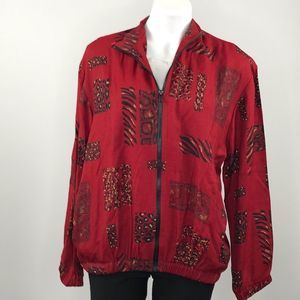 Drapers & Damon's red with animal print zip jacket